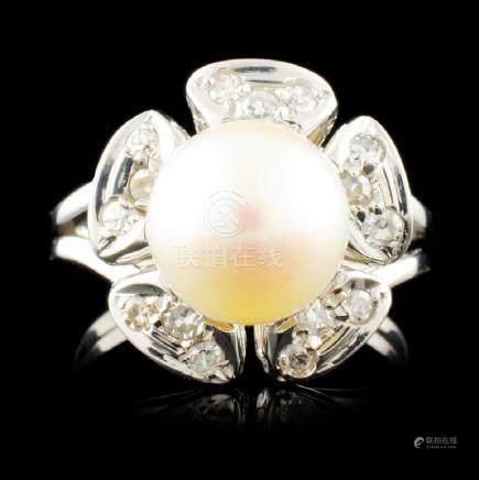 14K Gold 9.00MM Pearl & 0.12ctw Diamond Ring