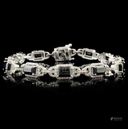 14K Gold 8.95ct Sapphire & 1.41ctw Diamond Bracele