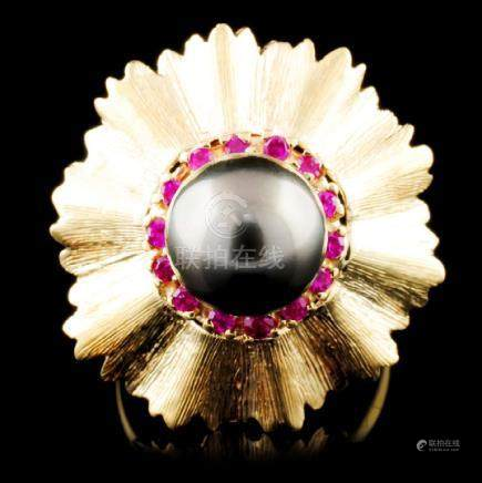 14K Gold 9.00MM Pearl & 0.38ctw Ruby Ring