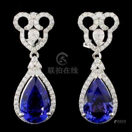 14K Gold 7.58ctw Tanzanite & 1.27ctw Diamond Earri