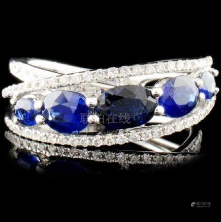 18K Gold 1.95ctw Sapphire & 0.29ctw Diamond Ring