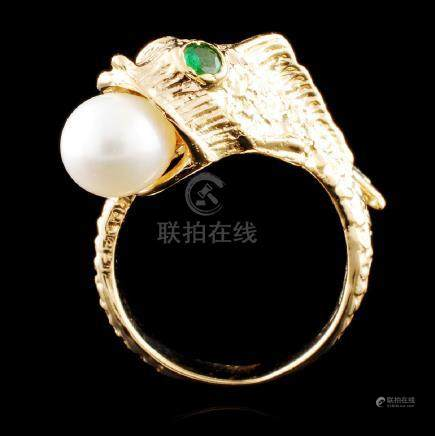14K Gold 6.75MM Pearl & 0.10ctw Emerald Ring