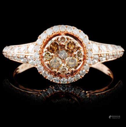 14K Rose Gold 0.74ctw Fancy Color Diamond Ring