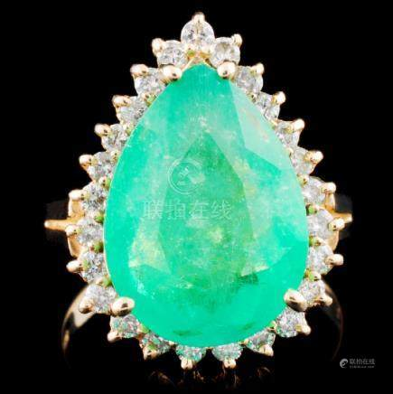 14K Gold 5.14ct Emerald & 0.53ctw Diamond Ring