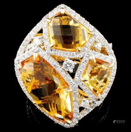 14K Gold 8.24ct Citrine & 0.99ctw Diamond Ring