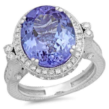 14K Gold 9.00ct Tanzanite & 0.50ct Diamond Ring