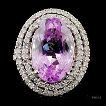 14K W Gold 9.84ct Kunzite & 0.96ct Diamond Ring