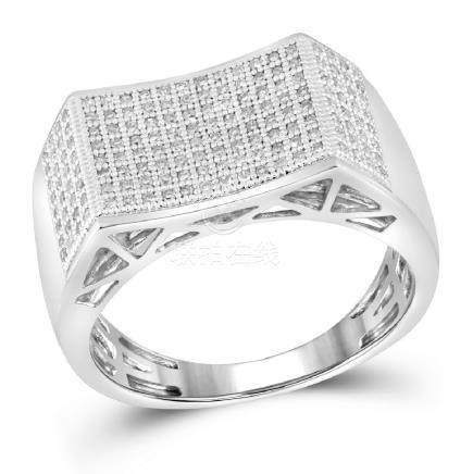 0.50 CTW Mens Pave-set Diamond Rectangle Concave