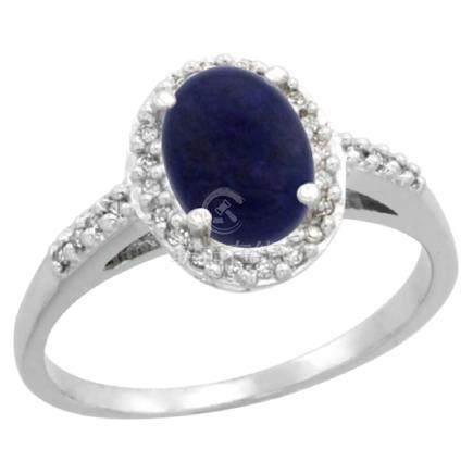 Natural 1.13 ctw Lapis & Diamond Engagement Ring 14K