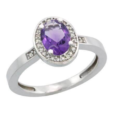 Natural 1.08 ctw Amethyst & Diamond Engagement Ring 14K