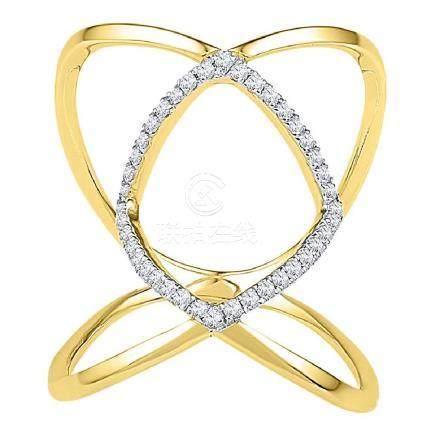 0.16 CTW Diamond Open Strand Knuckle Fashion Ring 10KT