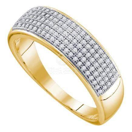 0.33 CTW Mens Diamond Wedding Ring 10KT Yellow Gold -