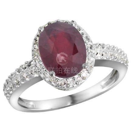 Natural 2.3 ctw Ruby & Diamond Engagement Ring 14K