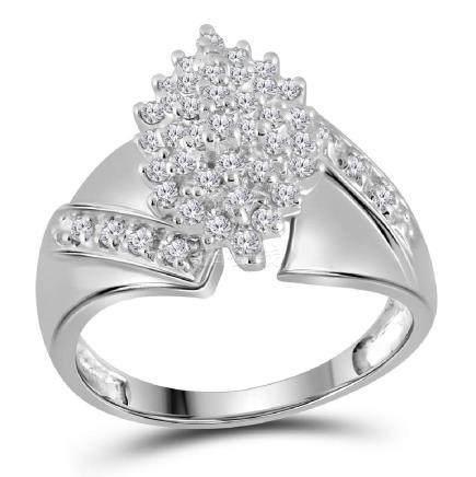 0.50 CTW Diamond Cluster Ring 14KT White Gold -