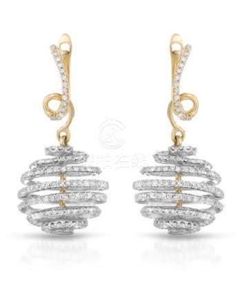 1.59 CTW Diamond Earrings 14K 2Tone Gold - REF-88F4N