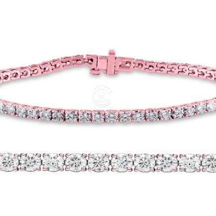Natural 2.04ct VS-SI Diamond Tennis Bracelet 14K Rose