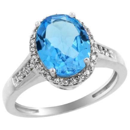Natural 2.49 ctw Swiss-blue-topaz & Diamond Engagement