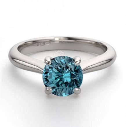 14K White Gold 0.83 ctw Blue Diamond Solitaire Ring -