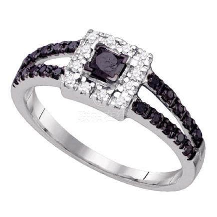 0.55 CTW Princess Black Color Diamond Princess Bridal