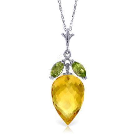 Genuine 10 ctw Citrine & Peridot Necklace Jewelry 14KT