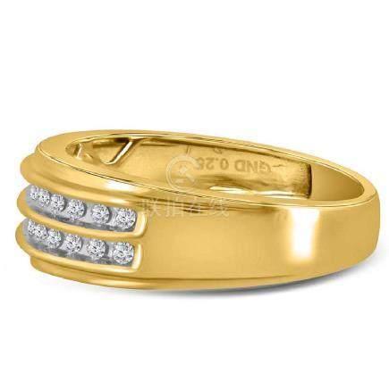 0.25 CTW Mens Diamond 2-row Wedding Anniversary Ring