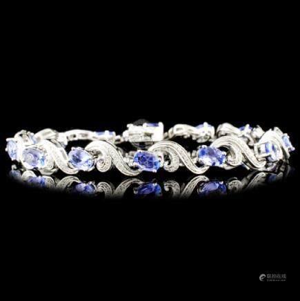 14K Gold 5.52ct Tanzanite & 0.41ctw Diamond Bracel