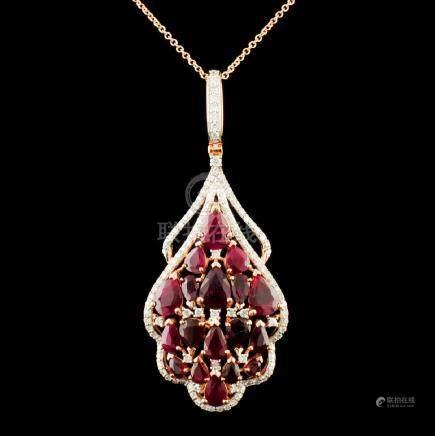 14K Gold 6.45ctw Ruby & 0.87ctw Diamond Pendant