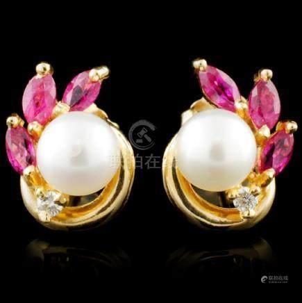 14K Gold 0.87ctw Ruby & 0.05ctw Diamond Earrings