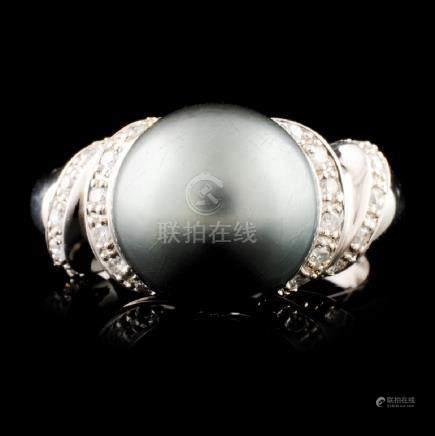 14K Gold 10.50MM Pearl & 0.28ctw Diamond Ring