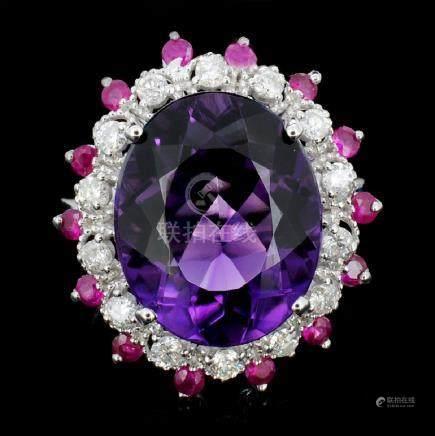 14K Gold 8.00ct Amethyst & 0.70ctw Diamond Ring