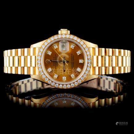 Rolex 18K YG Ladies Diamond Wristwatch