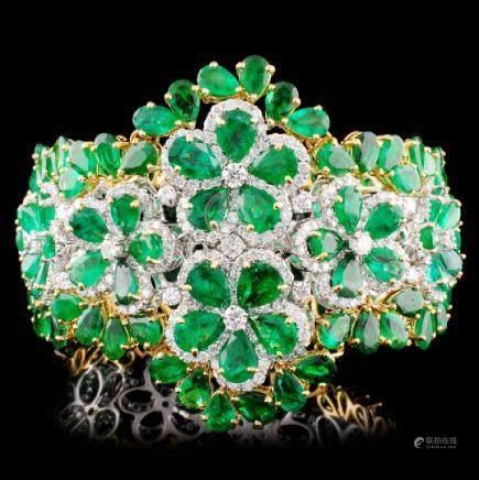 18K Gold 57.83ct Emerald & 8.02ctw Diamond Bracele