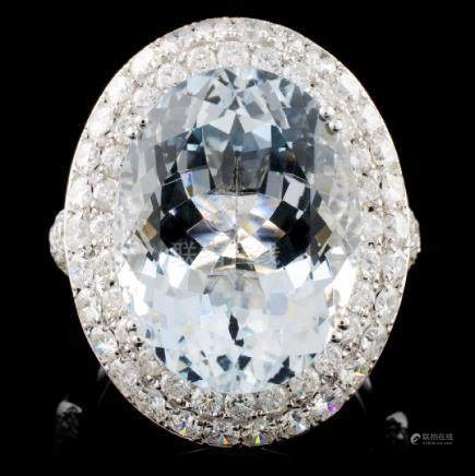 14K Gold 11.59ct Aquamarine & 2.87ct Diamond Ring