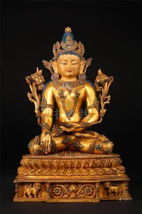 CHINESE GEM STONE INLAID GILT BRONZE SEATED SAKAYMUNI