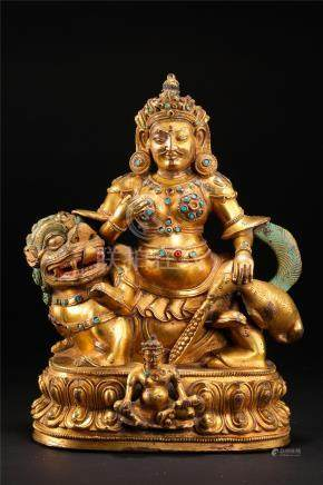CHINESE GEM STONE INLAID GILT BRONZE SEATED GOD OF WEALTH