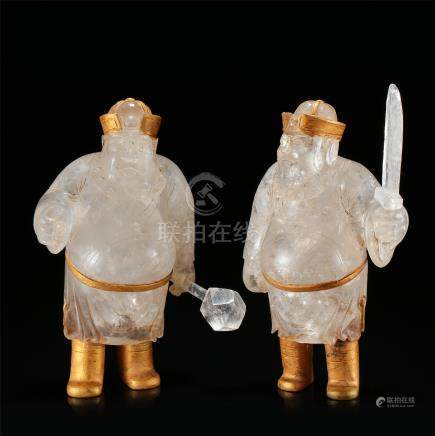 PAIR OF CHINESE GOLD MOUNTED ROCK CRYSTAL STANDING MEN