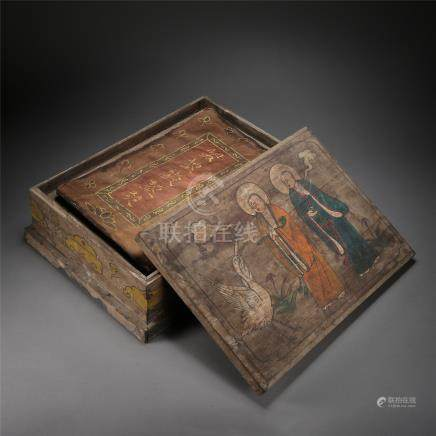 THREE BOOKS OF CHINESE BUDDHIST SCRIPTURES IN WOOD CASE