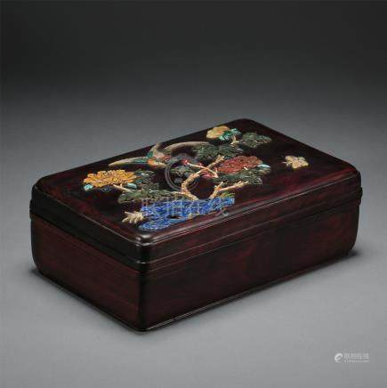 CHINESE GEM STONE INLAID ROSEWOOD JEWELRY CASE