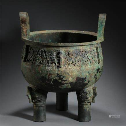 CHINESE ANCIENT BRONZE TRIPLE FEET DING HAN DYNASTY