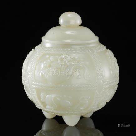 CHINESE WHITE JADE LIDDED TRIPLE FEET JAR