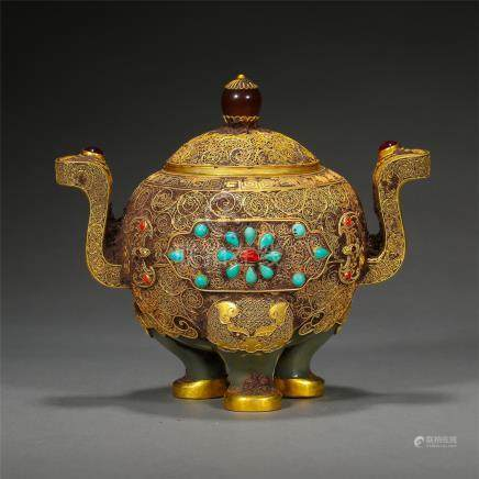 CHINESE GEM STONE INLAID PURE GOLD JADE TRIPLE FEED LIDDED CENSER