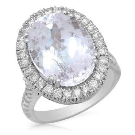 14K Gold 11.38ct Kunzite 1.05ct Diamond Ring