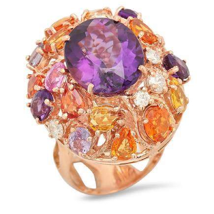 14K Gold 8.31ct Amethyst 6.50ct Sapphire 0.75cts
