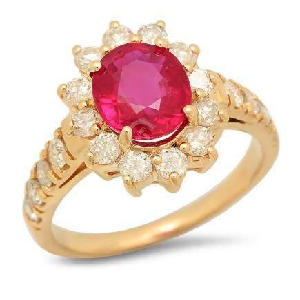 14K Gold 2.37ct Ruby 1.12cts Diamond Ring