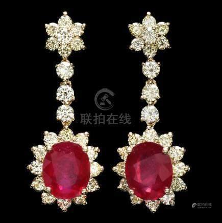 14k Gold 9.50ct Ruby 3.90ct Diamond Earrings