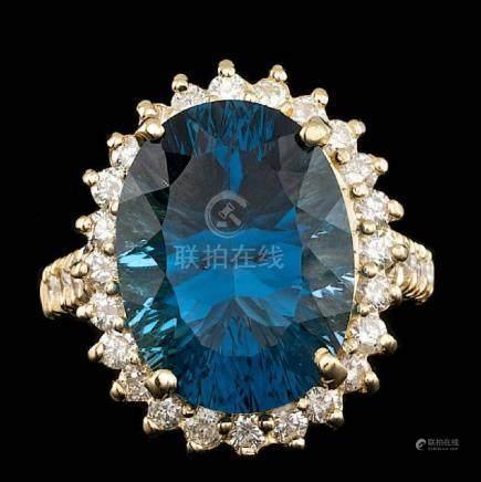 14k Yellow Gold 12.00ct Topaz 1.20ct Diamond Ring