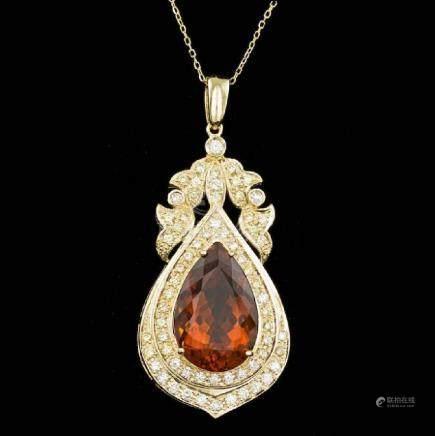 14k Gold 14.50ct Citrine 1.70ct Diamond Pendant