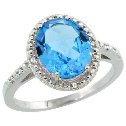 Natural 2.42 ctw Swiss-blue-topaz & Diamond Engagement