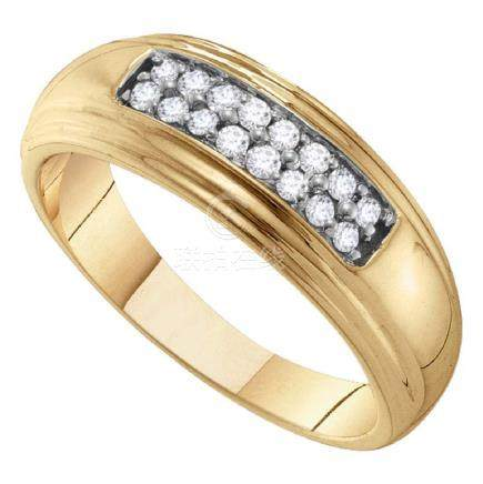 0.25 CTW Mens Diamond Double Row Wedding Ring 10KT