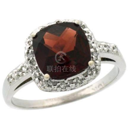 Natural 3.92 ctw Garnet & Diamond Engagement Ring 14K